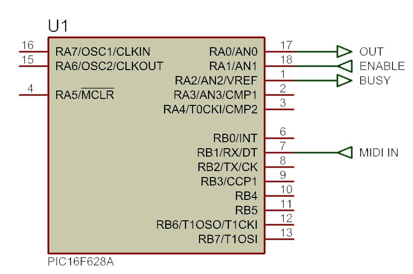 PIC Interface para MIDI