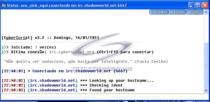 Conectando ao Shadowworld